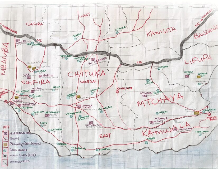 Hand drawn map showing part of Malenga Mzoma Traditional Authority