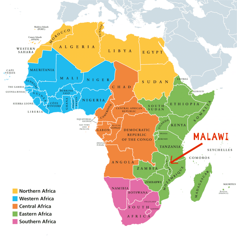 Map of Africa showing location of Malawi